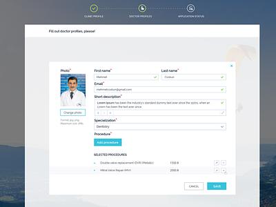 Doctor Profile form registration medical doctor ux uiux design ui design ui