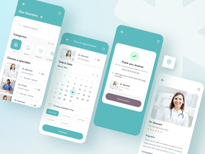 Medical Appointment App booking medical care userinterface shedule appointment doctor appointment doctors mobile ui mobile app design medical app medical uiux ux ui design