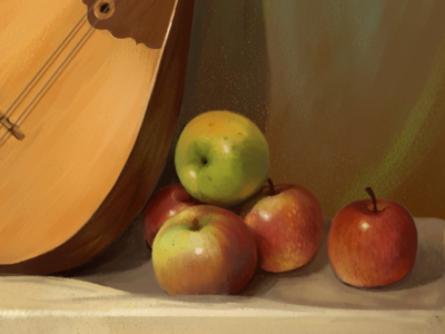 Apples music oil illustration sketch dombra painting apple