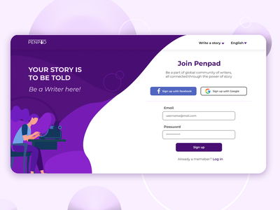 Sign up page for a Story writing website PenPad dailyuichallenge webpage logo ui