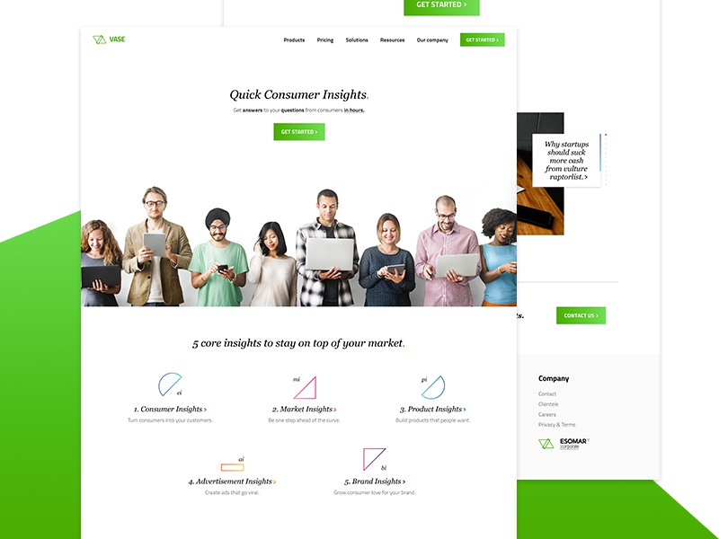 Vase | Landing Page layout web design trigonometry survey gradient user interface wireframe ux ui ui design uiux landing page