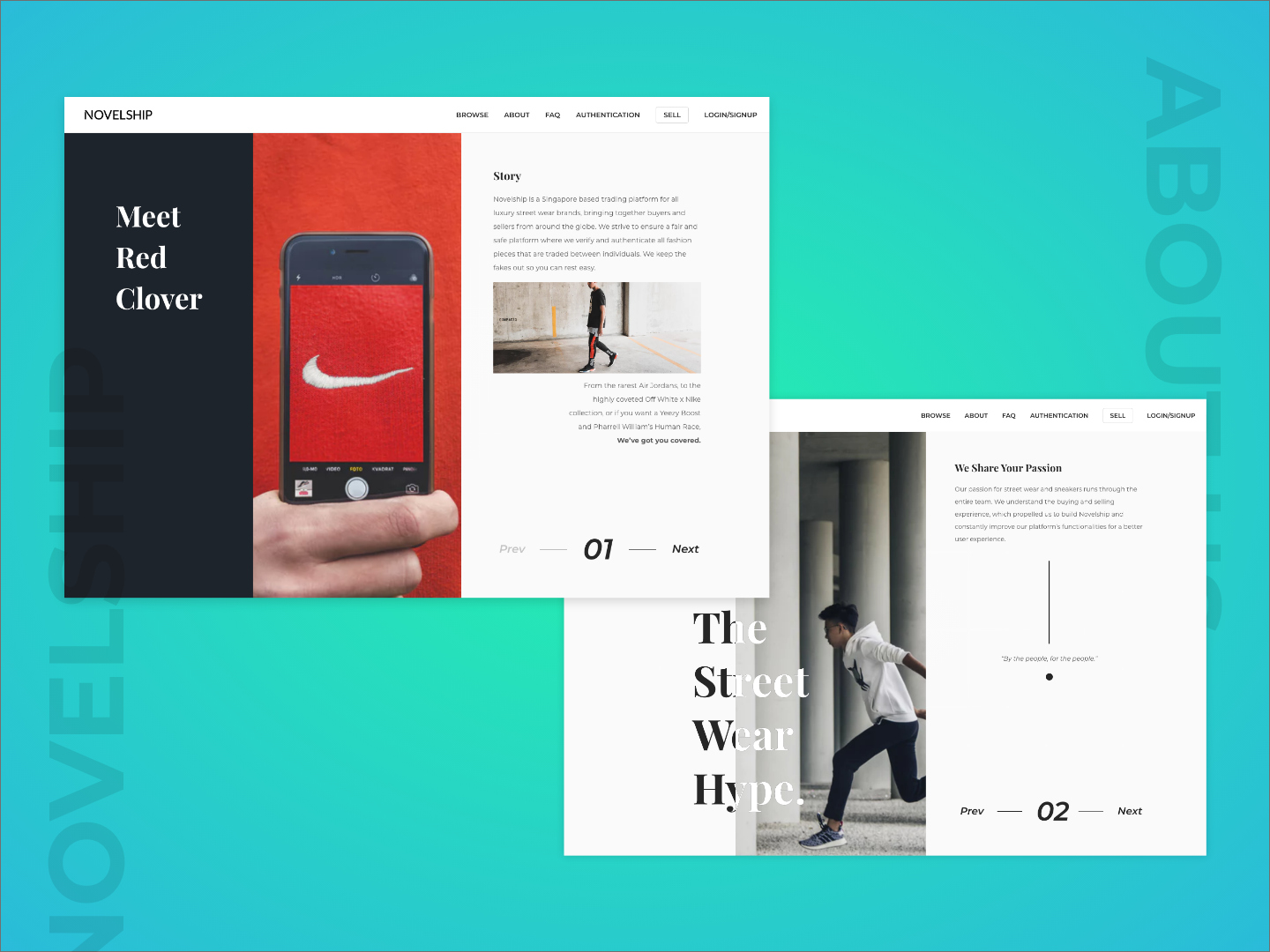 Redesign Novelship About Page typography branding gradient design clean web design user interface landing page ui ux uiux ui design layout