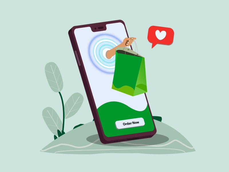 Order Your Food Through Mobile vector mobile order online delivery orders design illustration