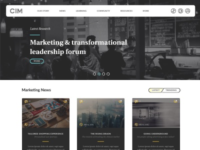 CIM homepage redesign homepage website interface redesign