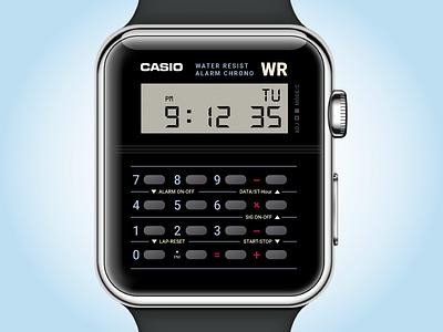 Casio Watch app illustrator 100days calculator retro ui watch