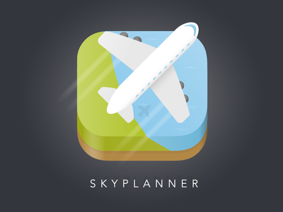 Flight Planner App Icon illustration ui plane flight illustrator icon app 005 100days