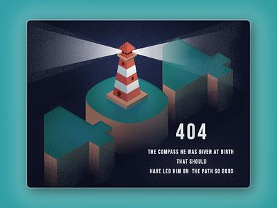 008 404 Page sea illustration illustrator dailyui 100days 008 404 isometric lost