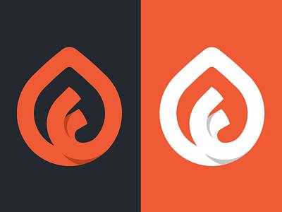 F Icon brand branding letter leaf flame mark logo f icon orange