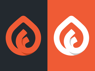 F Icon brand branding letter leaf flame mark logo f icon orange