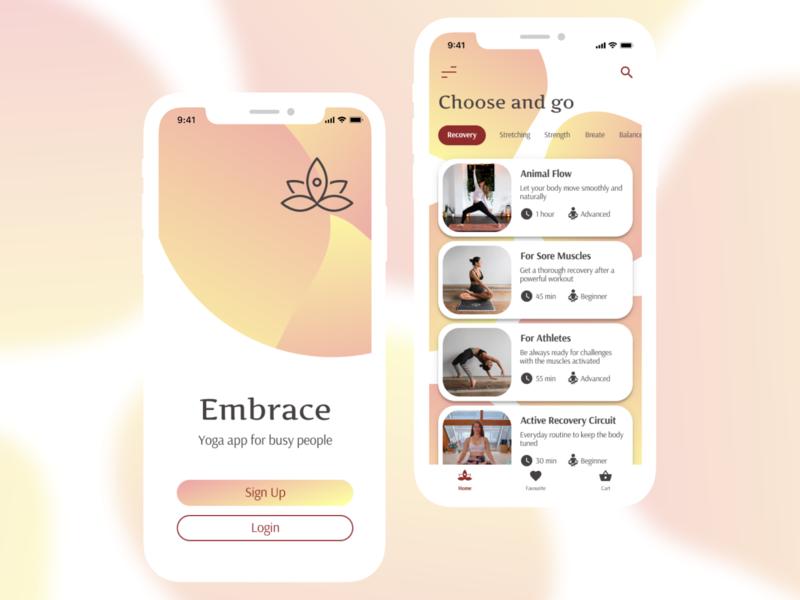 Embrace Yoga App yoga app yoga mobile application mobile app design mobile ui design mobile app mobile ui app app design design practice daily ui challenge mobile design ui dailyui design ui challenge
