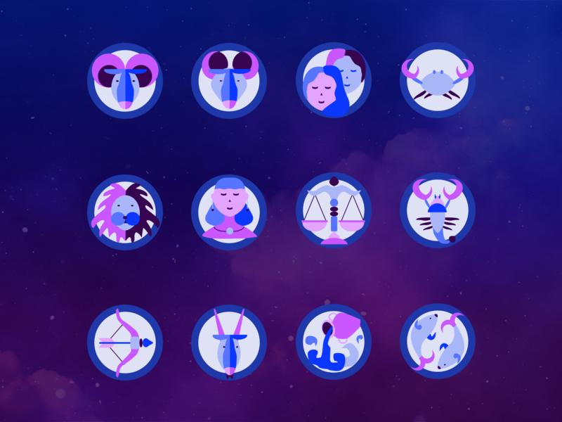 Horoscope Signs horoscope graphic graphic desgin design practice ui vector design illustration