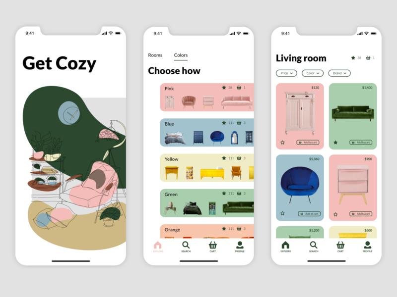 Get Cozy app application design app application ui interiors app design application graphic design vector illustration design mobile design ui