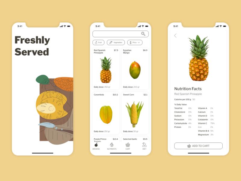 Freshly Served App mobile ui mobile user inteface ui challenge ux typography app design design practice mobile design vector ui illustration design