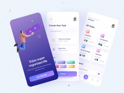 Task management app with onboarding apple app ux ui design events event calender overlaps bayzid asana slack task management task manager to do todo task uidesign android ios mobile design