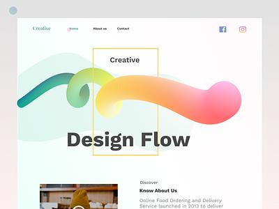 Creative Design Flow Website web typography landing page product minimal creative agency colorful gradient design ux ui