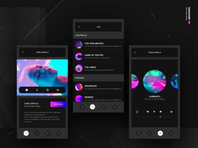 local music artists app screens