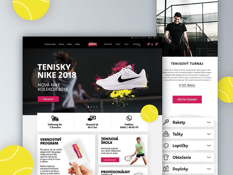 Racket-vision Landing page / e-shop ball racket tennis pink black web webdesign design page landing eshop