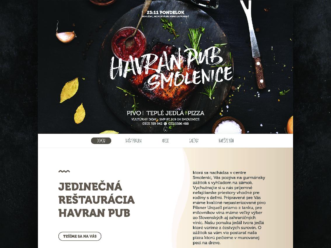 Havran pub 2/3 - WEBSITE black minimalistic landing ui clean website web modern flat design
