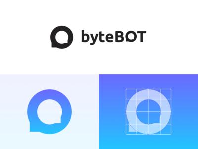 Branding bytebot mascot conversation chat gradient hot new logo branding technology bot