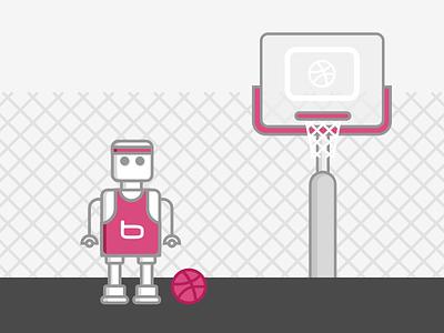 bytebot dribbbling shot character fun sport basket dribbbling dribbble bot bytebot