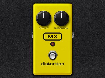 MX Distortion Pedal pedal guitar knob switch yellow mx audio recording ipb nexus digitech foot music itunes app store carpet board signal chain pedalboard