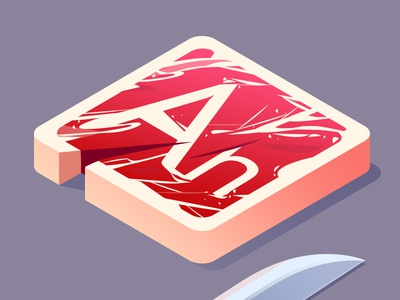 Meat an illustrate knife steak meat adobe isometric icon