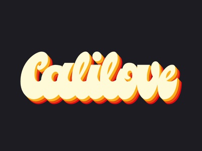 Calilove 70s illustrator typographie cali love rainbow letters lettering logo groovy lettering tyography