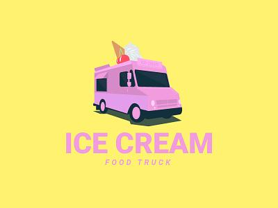 Ice cream food truck adobe logo illustrator ai truck food cream ice