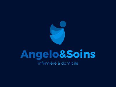Angelo&Soins soins nursery hopital infirmière nurse health home care logo illustrator angel