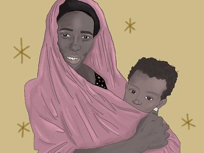 Refugee woman illustration