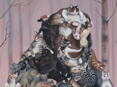 Catsquatch, now in color cats painting