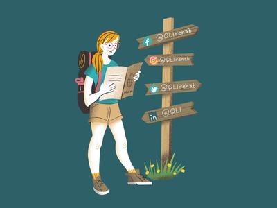 Social Media Girl omaha qli graphic design texture procreate sketch glasses ginger map backpack boots signs hike girl illustration social media
