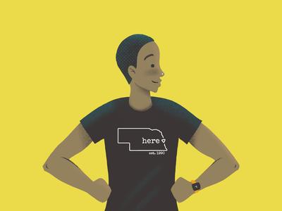 T-shirt Guy rehab qli nebraska shirt design yellow editorial magazine profile illustration man guy t-shirt