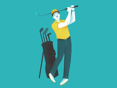 Golf Guy man golf club rehab qli graphic design procreate texture magazine editorial illustration event omaha happy swing golfer golf