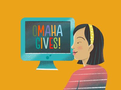 Omaha Gives Girl beautiful smile headband hair orange sketch procreate girl donate give non profit giving omaha imac computer