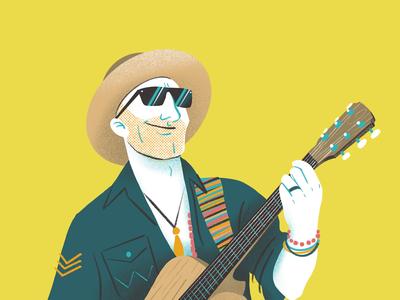 Drake White Caricature figurative man texture procreate yellow editorial magazine illustration hat sunglasses music country country music guitar comic cartoon portrait caricature drake white