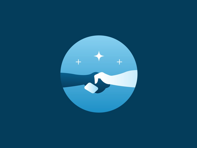 Handshake Icon omaha thrasher hands gradient blue hand lettering illustration icon stars contractors handshake