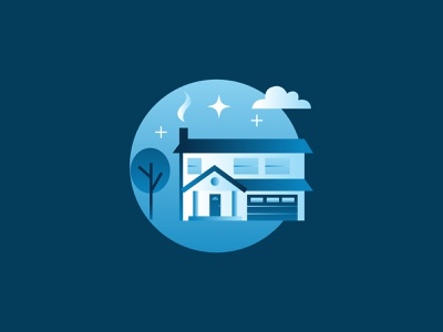 House Icon omaha thrasher illustration icon gradient circle blue stars cloud tree house