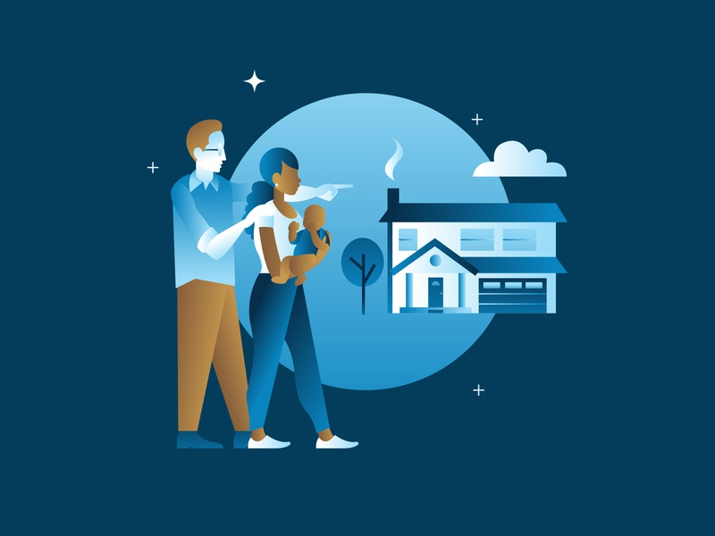 Customer Illustration fruitful design ben lueders illustrator vector graphic design circle husband and wife husband baby biracial family couple tree house cloud stars blue gradient illustration icon
