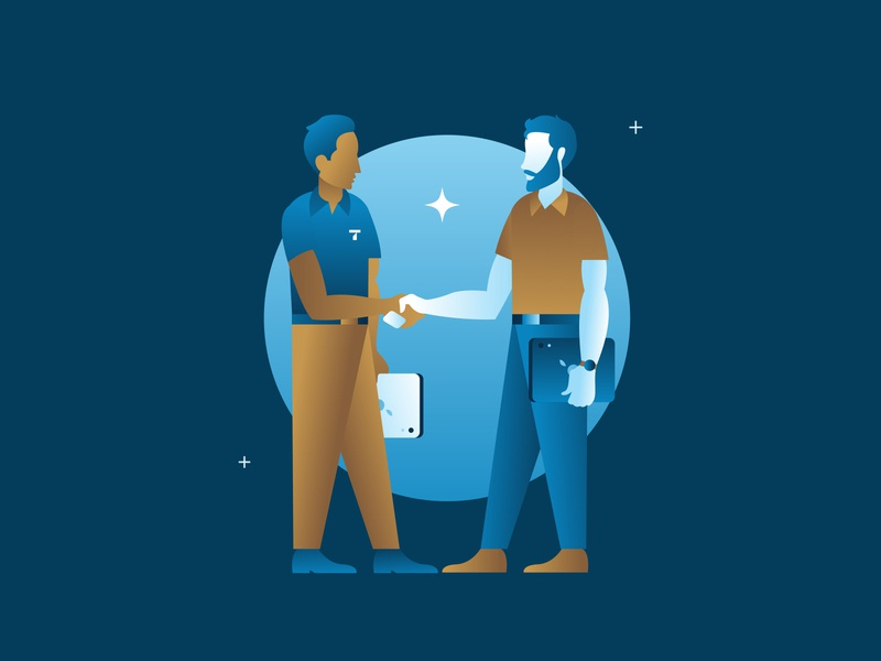 Contractor Illustration fruitful design ben lueders greet handshake bearded man beard circle ipad star gradient blue diversity better together fellowship brotherhood men illustration contractor thrasher