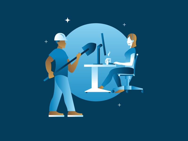 Employee Illustration stars blue gradient illustrator office illustration customer service chair computer employee workers office coffee desk boots construction helmet shovel illustration omaha thrasher