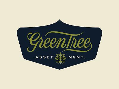 GreenTree Logo Design 1 logo design icon design icon font design script lettering script typography vintage retro badge asset management asset tree green tree green lettering logo