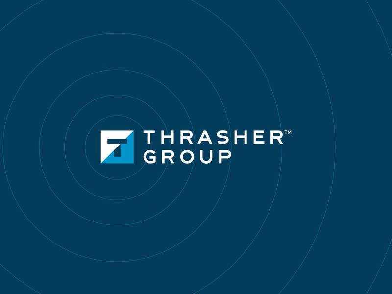 Thrasher Group Logo ripples logo comps thumbnails sketches design process brand manual branding and identity brand identity family of brands organization group parent company omaha thrasher branding logo design logo