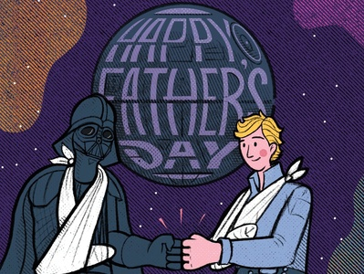Fruitful Father's Day 2020 texture illustration drawing father dad fathers day fist bump luke skywalker deathstar darth vader star wars starwars