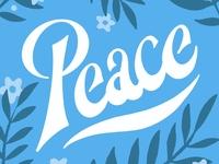 Peace Lettering procreate blue concept thumbnails sketch calm peaceful leaves flowers 70s retro script letters font handlettering lettering illustration fruit of the spirit
