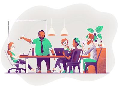 The Fruitful Team! design team macbook ipad ikea lego plant bb8 whiteboard meeting business office chair people design illustration