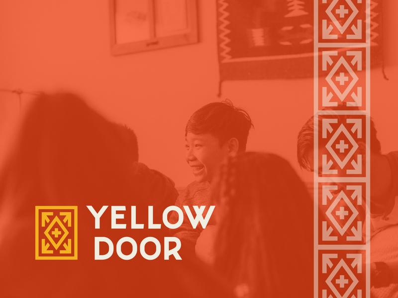 Yellow Door Branding burma karen asian nebraska omaha refugee door yellow hand lettering lettering monoline branding logo