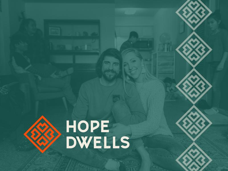 Hope Dwells Branding nonprofit refugee asian pattern green red couple smile photo hearts icon monoline hand lettering lettering nebraska omaha dwell hope branding logo