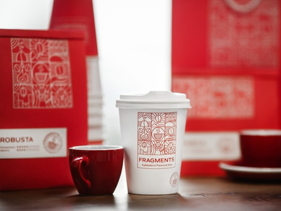 Identity and packaging design for Fragments coffee creative logo creative design cafe logo cafe branding coffee branding coffee logo coffee coffee bag of design packaging olenafedorova bestofpackaging packagedesign illustration identity design design logo identity branding