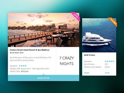Faunu Travels Tiles maldives tourism travel website web ux flat ui minimal layout clean tiles bookings